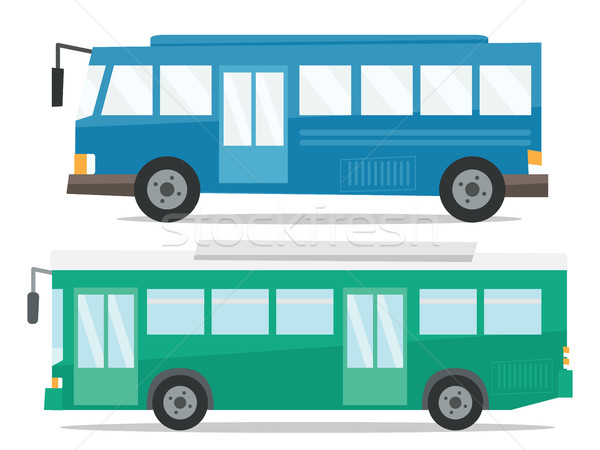 Side view of two city buses vector illustration. Stock photo © RAStudio