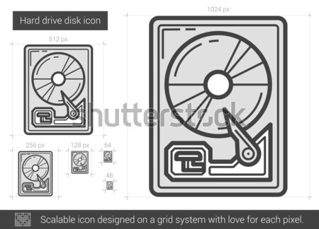 Hard drive disk line icon. Stock photo © RAStudio