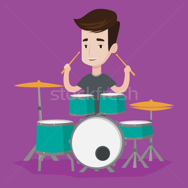 Man playing on drum kit vector illustration. Stock photo © RAStudio
