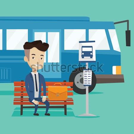 человека железнодорожная станция азиатских молодым человеком Постоянный поезд Сток-фото © RAStudio