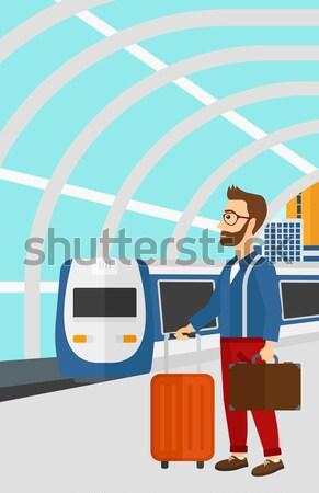 Woman at the train station vector illustration. Stock photo © RAStudio
