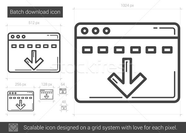 Batch download line Symbol Vektor isoliert Stock foto © RAStudio