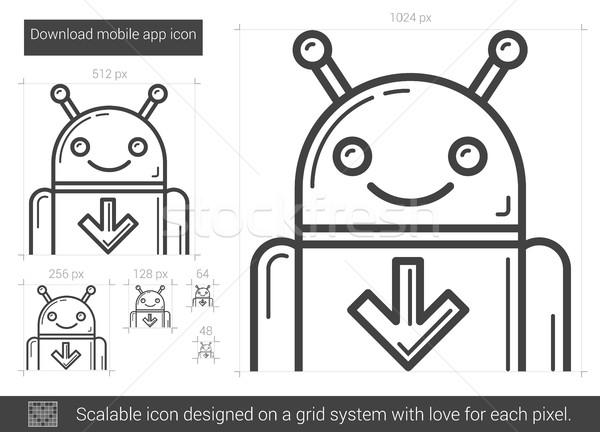 скачать мобильных приложение линия икона вектора Сток-фото © RAStudio