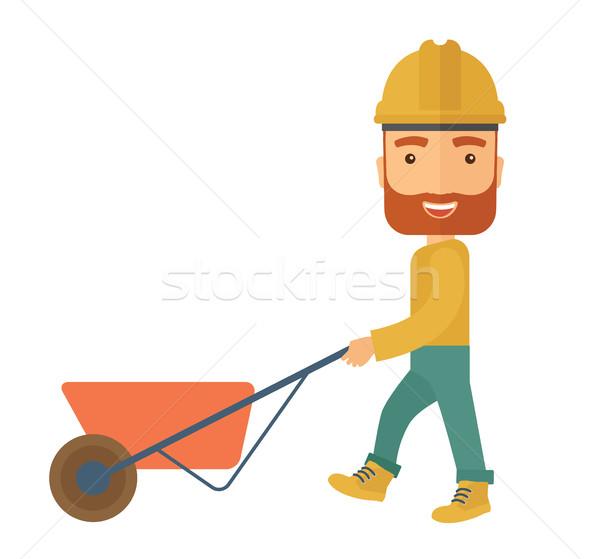 植木屋 プッシング 手押し車 男性 着用 ヘルメット ストックフォト © RAStudio