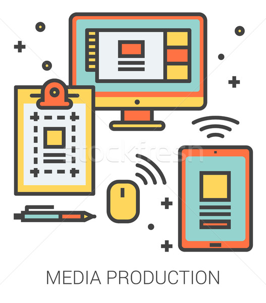 Media production line icons. Stock photo © RAStudio