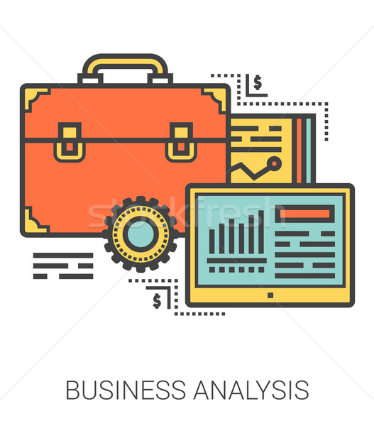 Foto stock: Análise · de · negócios · linha · metáfora · ícones · negócio