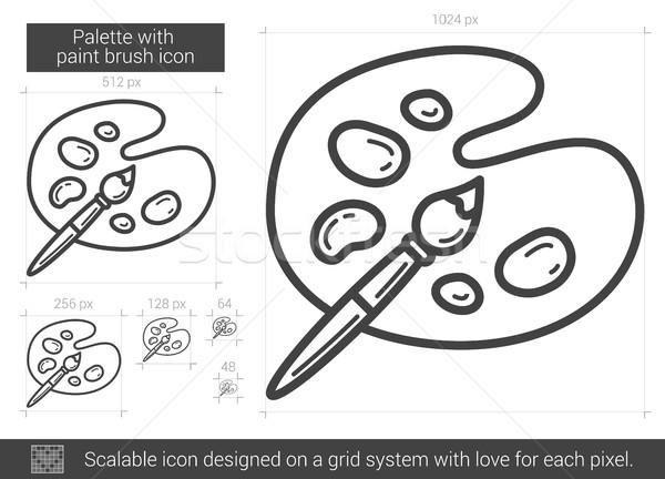 Paletine fırça boya hat ikon vektör yalıtılmış Stok fotoğraf © RAStudio