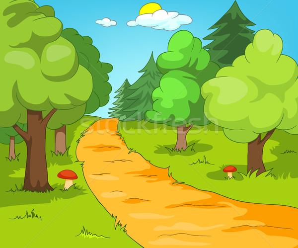 Desenho Animado Floresta Paisagem Verao Colorido Foto