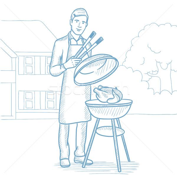 男 料理 鶏 バーベキューグリル 白人 ストックフォト © RAStudio