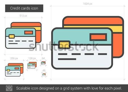 Kredi kartları hat ikon vektör yalıtılmış beyaz Stok fotoğraf © RAStudio