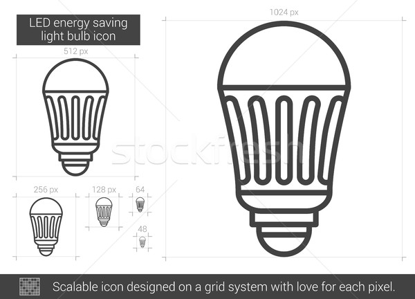 LED energy saving light bulb line icon. Stock photo © RAStudio