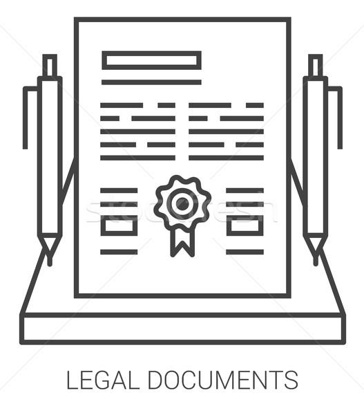 Legal documents line infographic. Stock photo © RAStudio