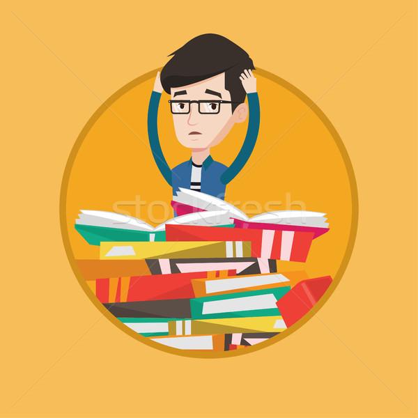 学生 座って 巨大な 図書 小さな ストックフォト © RAStudio