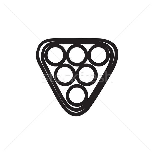 Szett biliárd golyók háromszög rajz ikon gyűjtemény Stock fotó © RAStudio