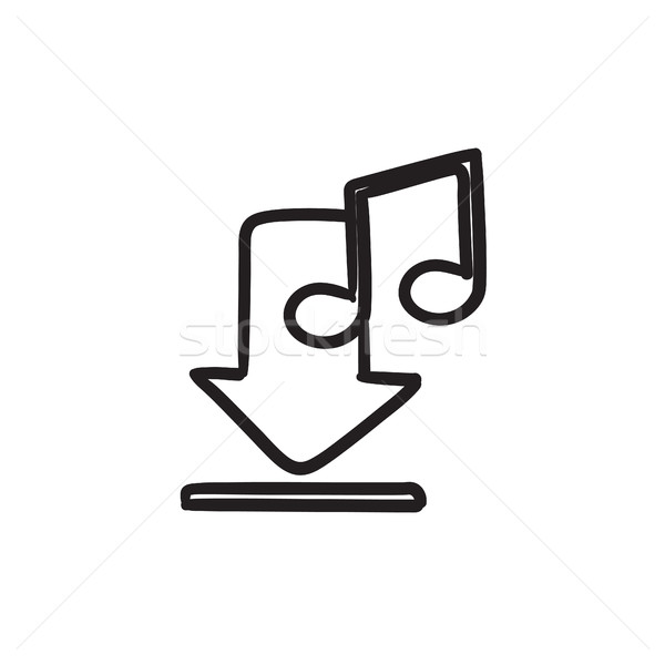 Stock photo: Download music sketch icon.