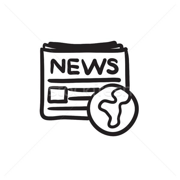 Internacional periódico boceto icono vector aislado Foto stock © RAStudio