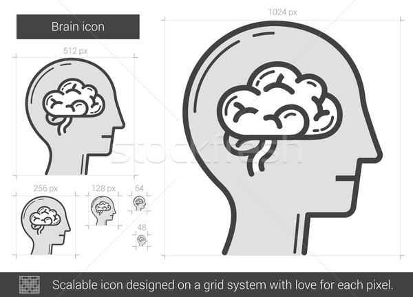 Cervello line icona vettore isolato bianco Foto d'archivio © RAStudio