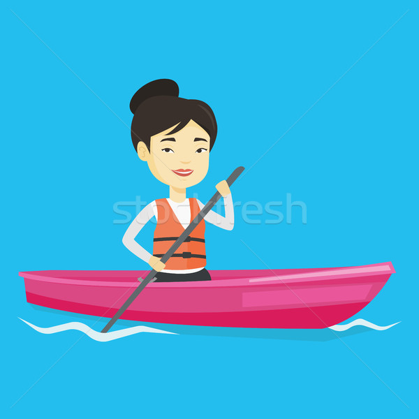 Sportswoman riding in kayak vector illustration. Stock photo © RAStudio