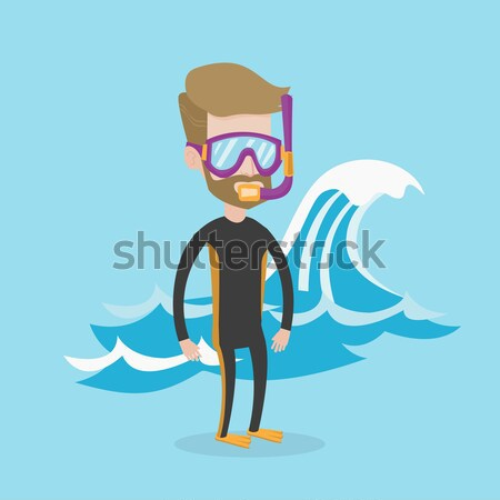 Young scuba diver vector illustration. Stock photo © RAStudio