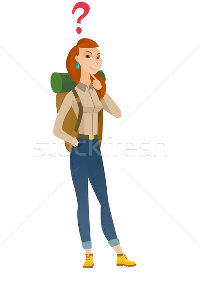 Thinking traveler with question mark. Stock photo © RAStudio