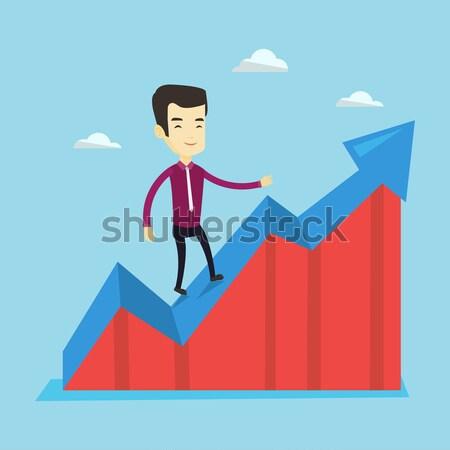 üzletember áll nyereség diagram ázsiai sikeres Stock fotó © RAStudio