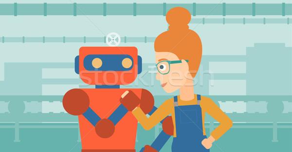 競争 ロボット 人間 レスリング 工場労働者 ベルト ストックフォト © RAStudio