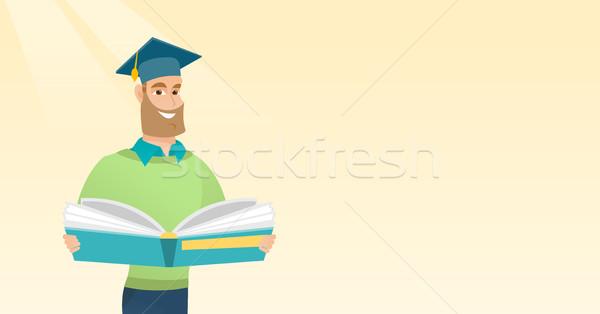 Diplomás könyv kezek mosolyog kaukázusi diák Stock fotó © RAStudio