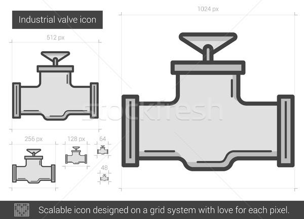 промышленных клапан линия икона вектора изолированный Сток-фото © RAStudio