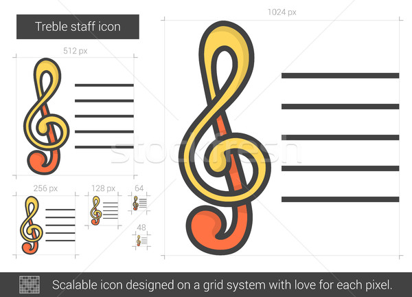 Treble staff line icon. Stock photo © RAStudio
