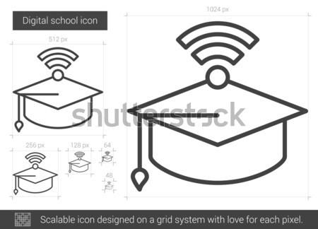 Digitális iskola vonal ikon vektor izolált Stock fotó © RAStudio