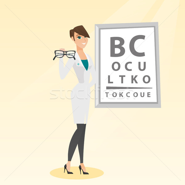 Profi szemorvos tart szemüveg kaukázusi orvos Stock fotó © RAStudio