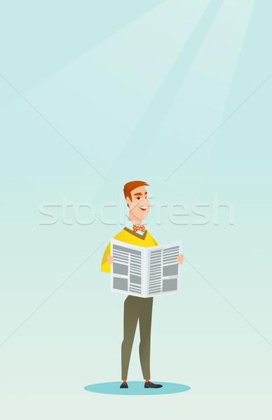 Man reading a newspaper vector illustration. Stock photo © RAStudio