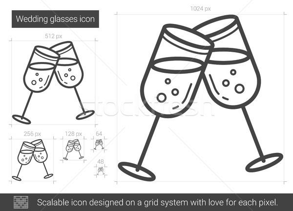 ślub okulary line ikona wektora odizolowany Zdjęcia stock © RAStudio