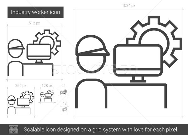 Industry worker line icon. Stock photo © RAStudio