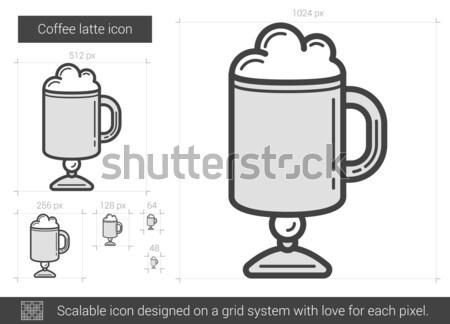 Kawy line ikona wektora odizolowany biały Zdjęcia stock © RAStudio
