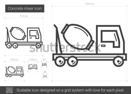 Foto stock: Concretas · mezclador · línea · icono · vector · aislado