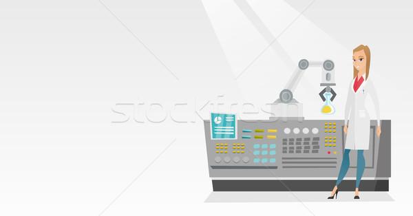 Wetenschapper robotachtige arm jonge kaukasisch moderne Stockfoto © RAStudio