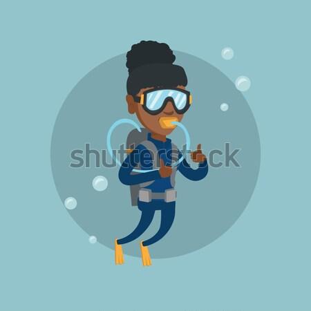 Man duiken scuba tonen teken Stockfoto © RAStudio