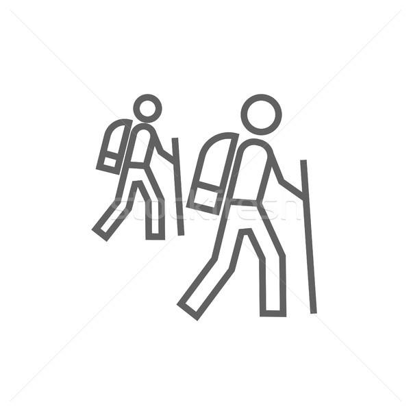 Turista hátizsákos turisták vonal ikon sarkok háló Stock fotó © RAStudio