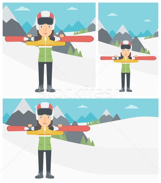Woman holding skis vector illustration. Stock photo © RAStudio
