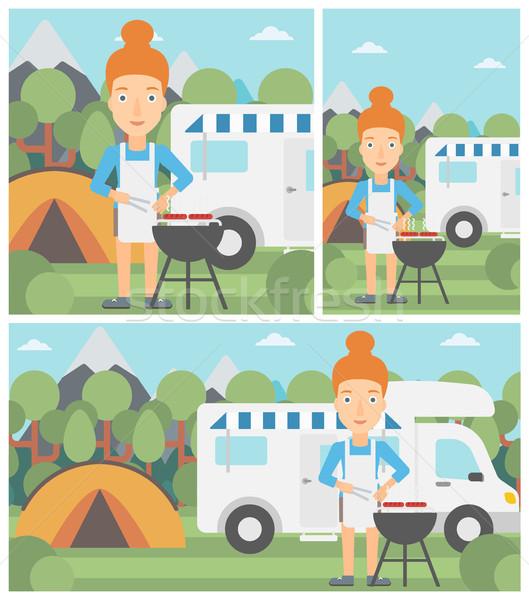 Woman having barbecue in front of camper van. Stock photo © RAStudio