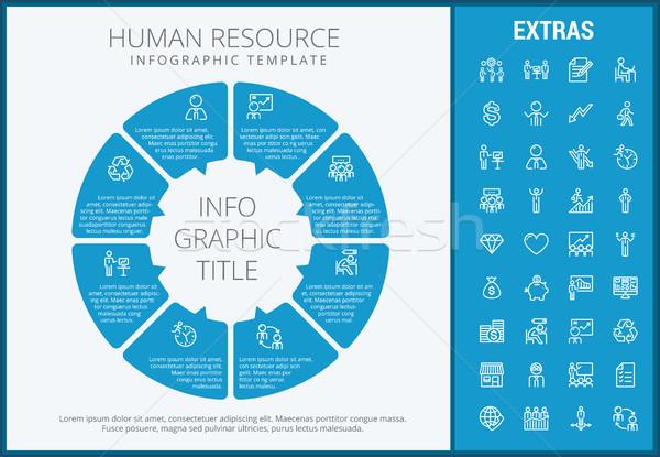 Emberi erőforrás infografika sablon elemek ikonok Stock fotó © RAStudio