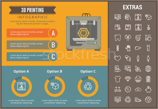 Stock photo: 3D printing infographic template and elements.