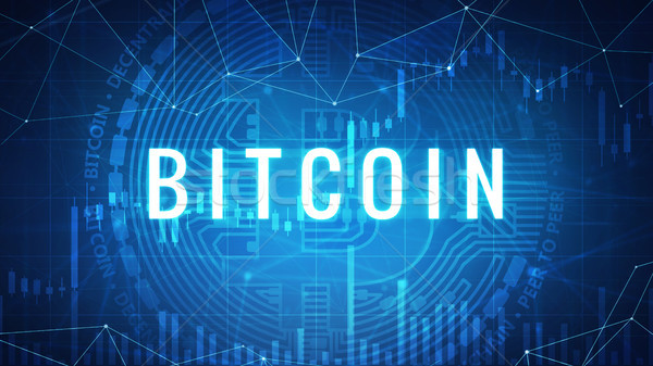 Neon bitcoin coin with bull stock chart. Stock photo © RAStudio