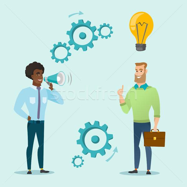 発表 ビジネス アイデア 小さな ビジネスマン ストックフォト © RAStudio