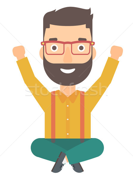 Man sitting with crossed legs and raised hands up. Stock photo © RAStudio