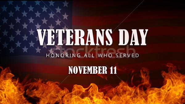 USA Veterans Day banner. Honoring all who served. Stock photo © RAStudio