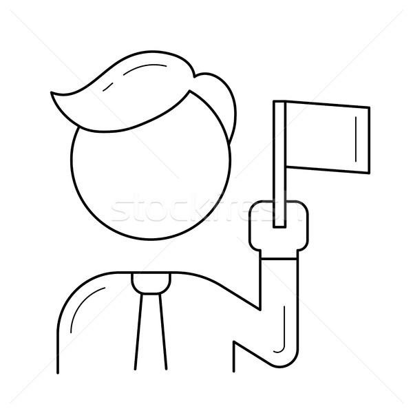 Stok fotoğraf: Takım · lideri · hat · ikon · vektör · yalıtılmış · beyaz