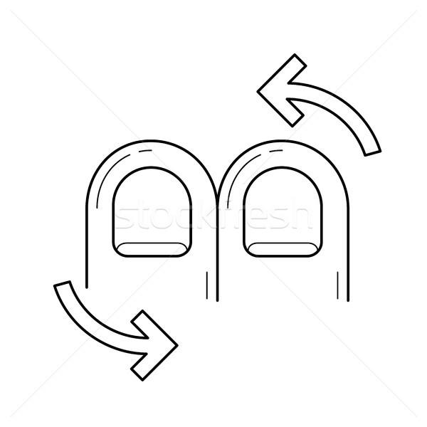Kettő ujj forgat vonal ikon vektor Stock fotó © RAStudio