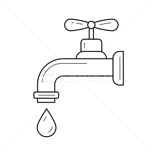 Stock photo: Water pipe with clean drop vector line icon.